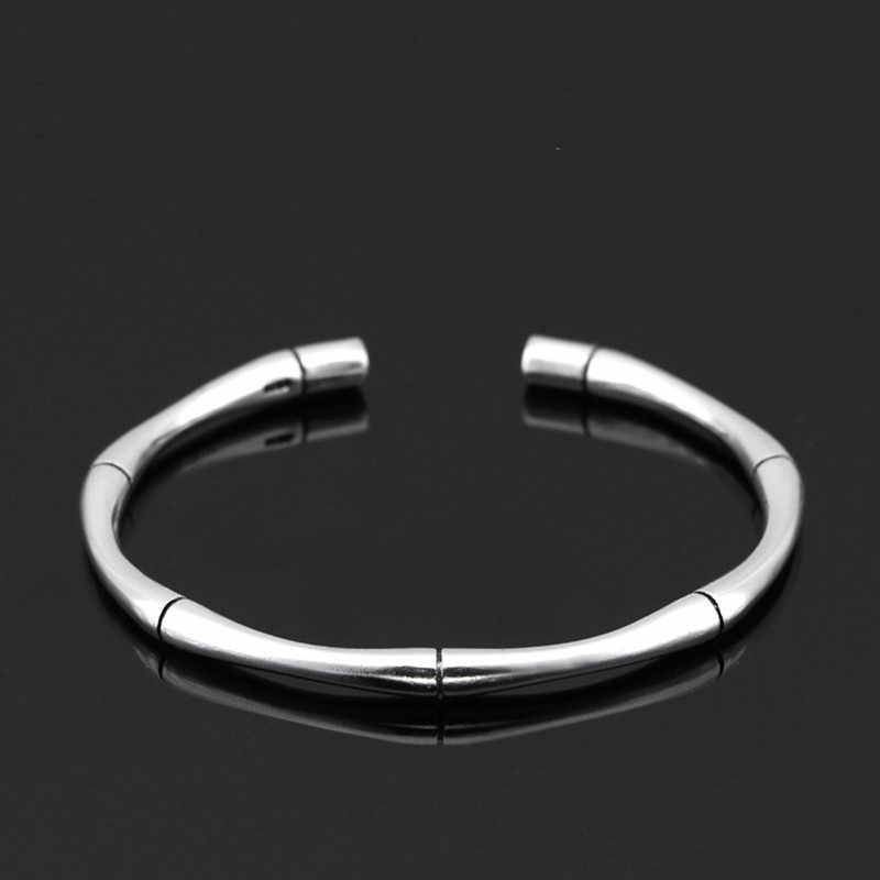 XIYANIKE New Arrival 925 Sterling Sliver High Quality Sliver Color Multi Segment Bamboo Open Adjustable Bracelets Bangle Women