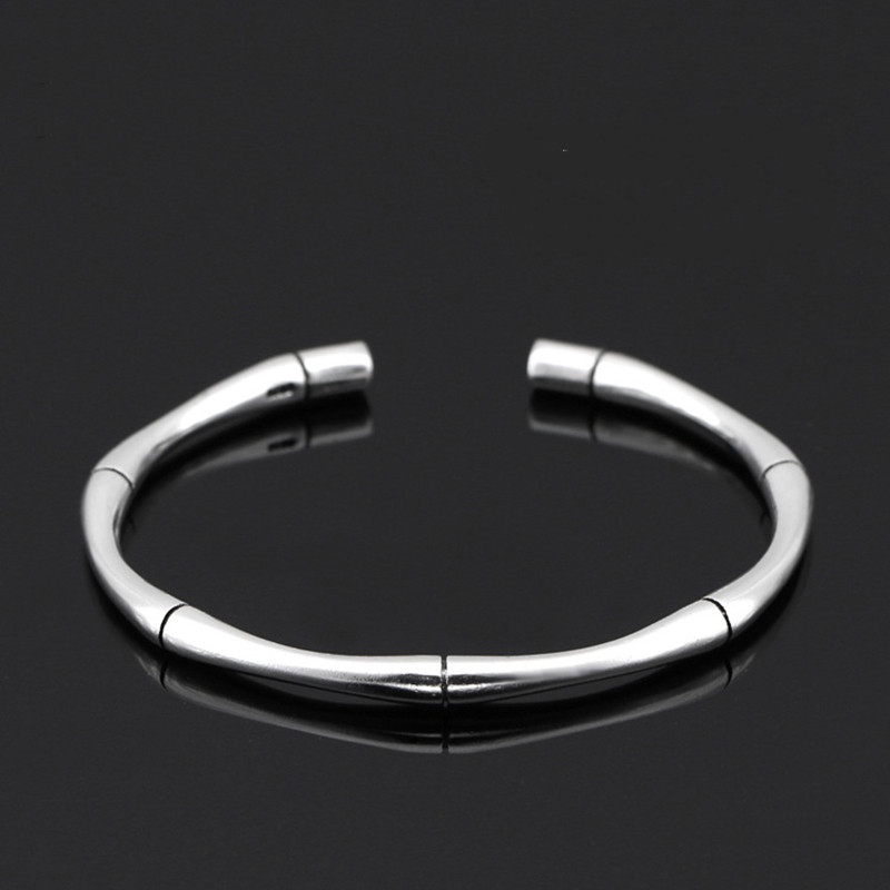 XIYANIKE New Arrival 925 Sterling Sliver High Quality Sliver Color Multi Segment Bamboo Open Adjustable Bracelets Bangle Women(China)