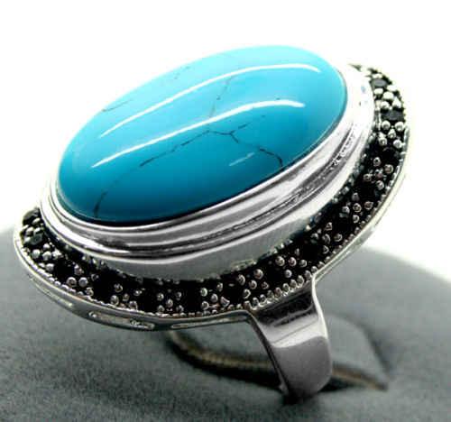 17X30 มม. Turquoises รูปไข่อัญมณี 925 Sterling Silver Marcasite Ring