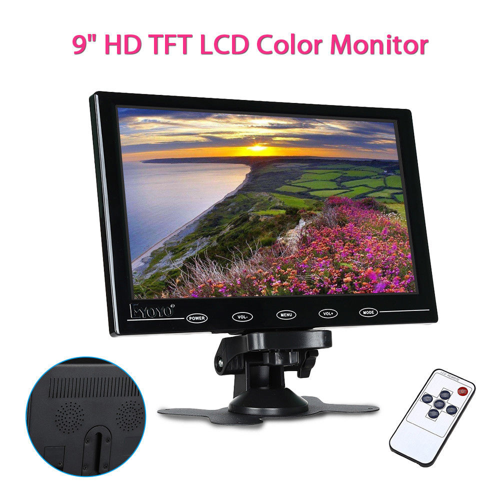 EYOYO 9 Mini TFT LCD HD VGA Ultra-light Video Audio Remote Control Color Monitor Display Portable HDMI For DVD CCTV Camera eyoyo g08 160 degree 8 inch 400 1 tft lcd monitor screen 4 3 1024 768 hdmi av vga video audio for cctv fpv with loudspeaker