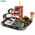 New Arrival Children's  F1 repair centre toys Assembled Puzzle Parking Lot Track Stereo Two Layer Alloy Car Distribution Toy