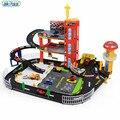 Nuevos niños de la llegada f1 centro de reparación toys puzzle montado estacionamiento pista estéreo de dos capas de distribución de aleación de coche de juguete