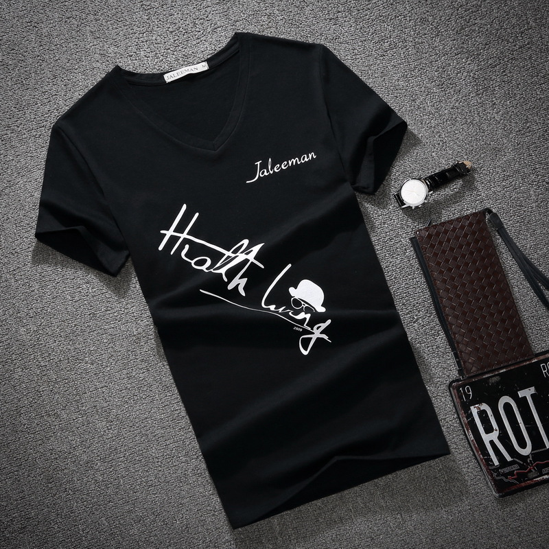 Men's V Neck T Shirt 2018 Summer Fashion Letter Print Short Sleeve T Shirt Men Slim Fit Mens Top Tees Shirt Size S-5XL
