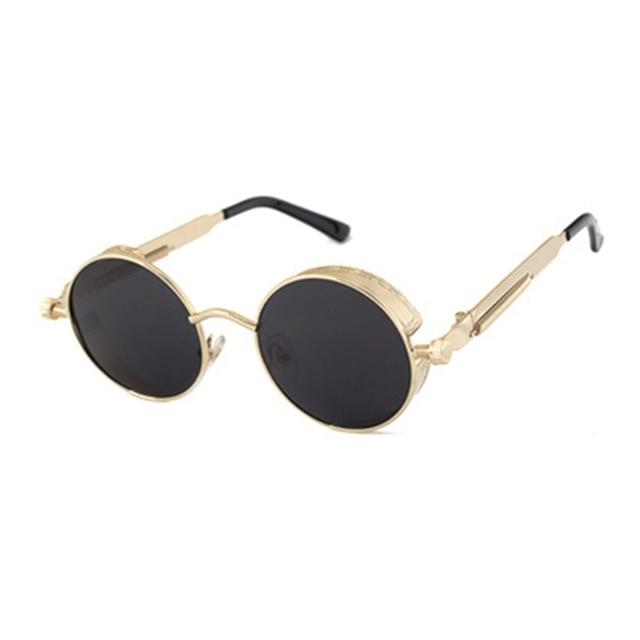Rétro Vintage Steampunk Lunettes de soleil Revêtement Miroir Cercle rond Femmes Hommes Sunglasses haviAlx6