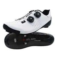 Chaussures de route de cyclisme en Fiber de carbone thermomoulables Pro deux lacets auto-bloquant vélo respirant bottes d'équitation hommes femmes ville d'origine