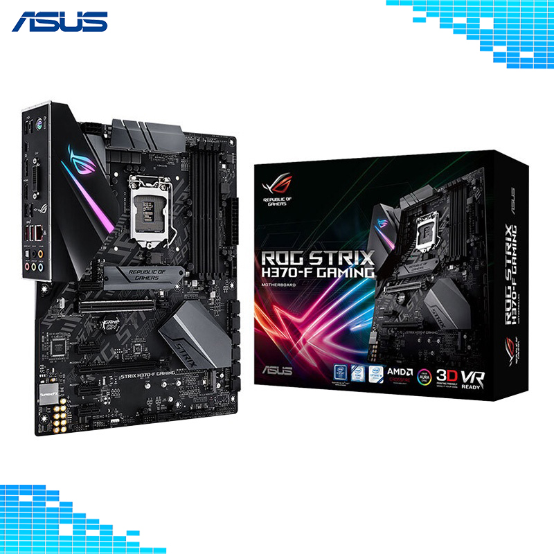 Asus ROG STRIX H370-F GAMING Motherboard Intel H370 LGA 1151 Socket 4xDDR4 DIMM 64GB REPUBLIC OF GAMERS Motherboard asus rog strix b350 f gaming motherboard republic of gamers amd b350 socket am4 desktop motherboard