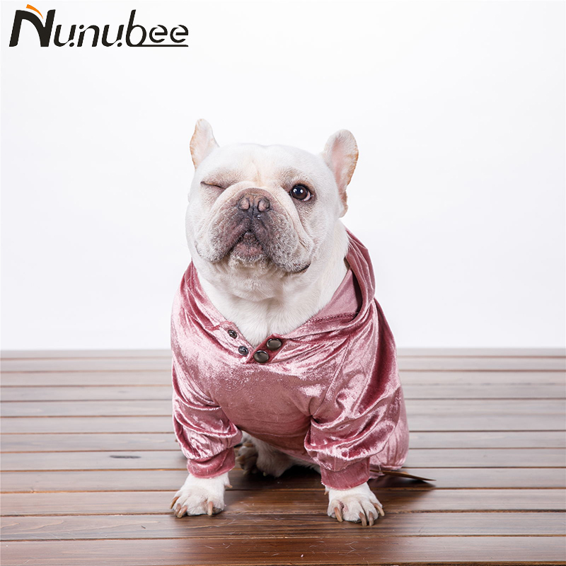 Nunubee Fashion Gold Velvet Dog Clothes Hoodie Coat Dogs Pets Clothing for French Bulldog Large Dogs ropa perro XS-XXXL