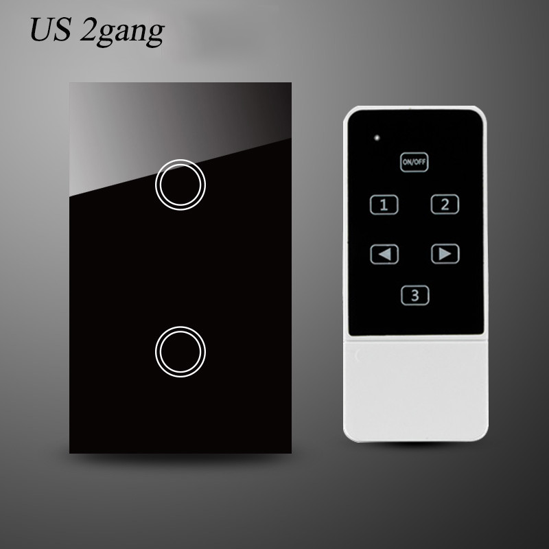 us au standard smart home remote control switch 2gang 1way wall light switch-black