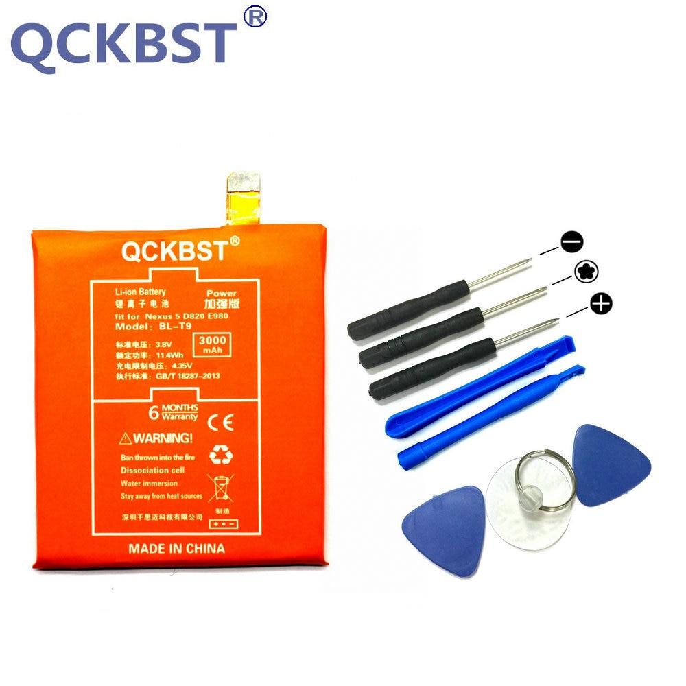 QCKBST BL-T9 Batteria Per LG Nexus 5 E980 G D820 D821 BLT9 3000 mAh Ad Alta Capacità Phone Batterie Li-Ion