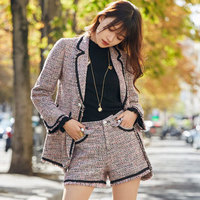 2 pieces Tweed Sets Women 2018 Fashion Frings Tweed Blazer Jackets+High Waist Short Pants Office Ladies Outfit Suits shorts Sets
