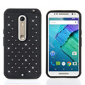 Case For Moto X style Hybrid Slim Armor diamond rugged Bling case 2 in 1 PC+Silicon back cover case For Moto X style
