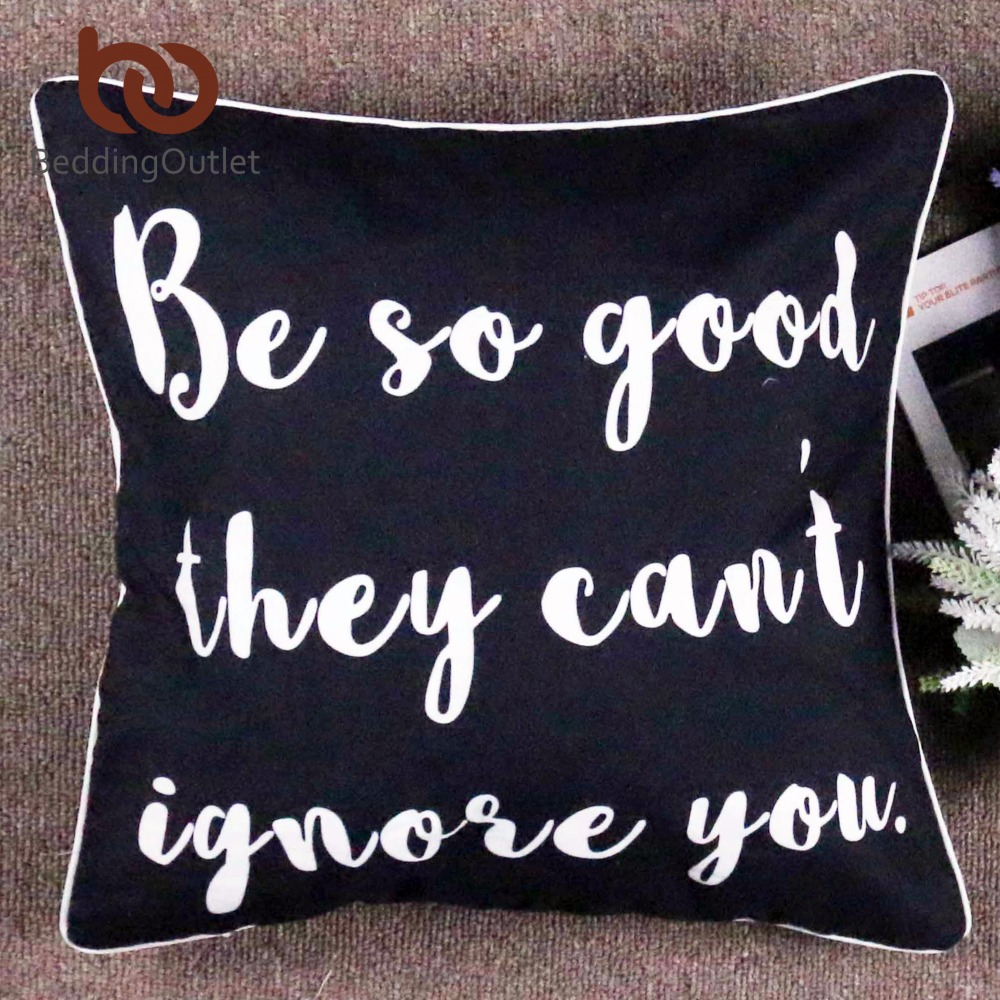 Beddingoutlet Letters Cushion Cover Black Cool Printed Sofa Cover Square Custom Made Polyester Pillowcase Home Decor