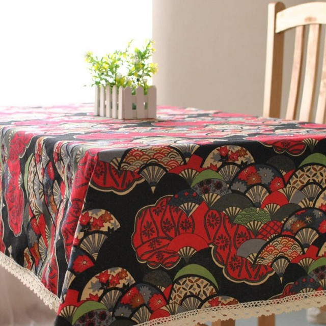 Indian Style Bule Red Printed Fan Table Cloth Linen Cotton Restaurant Party  Rectangular Tablecloth Square Table