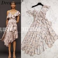High Quality Summer Dress Women Hot Sale Bohemian Print Asymmetrical Dress Sexy V Neck Petal Sleeve Empire Long Dress Girls