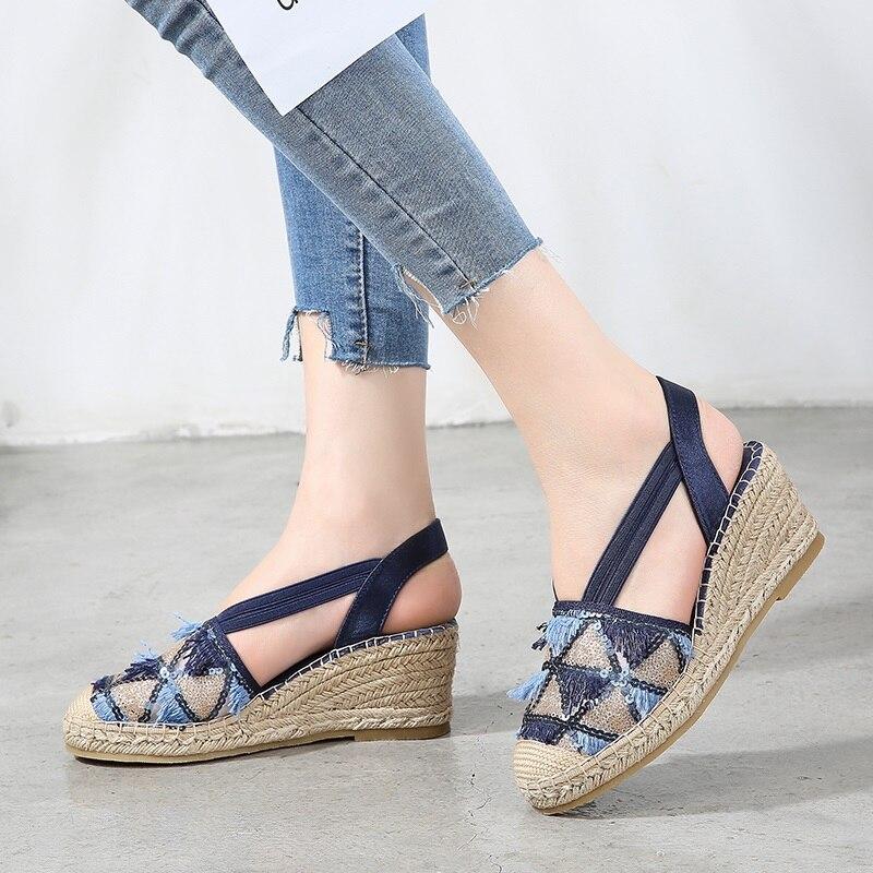 Nouvelles sandales femmes espadrilles plate-forme chaussures femmes t nouveau 2019 sandales à talons compensés