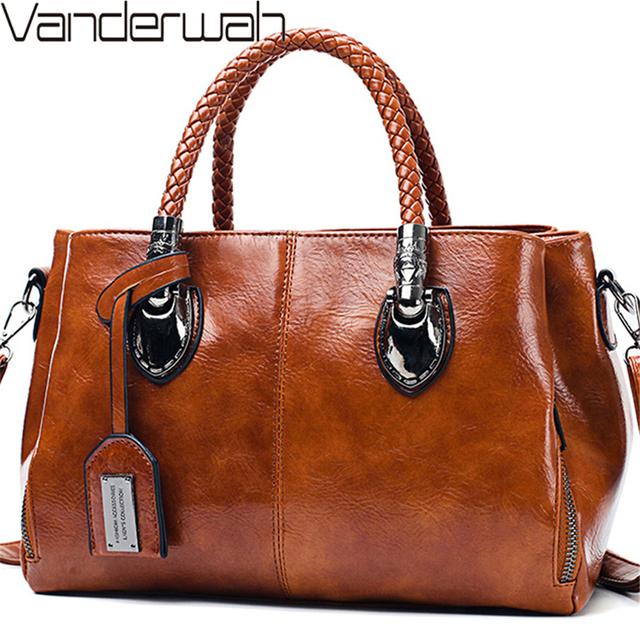 Vintage Oil Wax leather luxury handbags women bags designer ladies hand bags for women 2019 bag sac a main Femme Bolsa Feminina