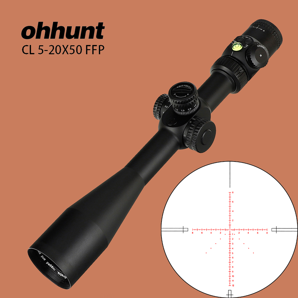 ohhunt CL 5 20X50 FFP Tactical Optical Sights First Focal Plane Red Green Illuminated Glass Reticle with Lock Reset Rifle Scope