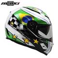 Nenki motocicleta casco integral de fibra de vidrio shell calle bike racing moto riding casco con doble visera parasol de la lente