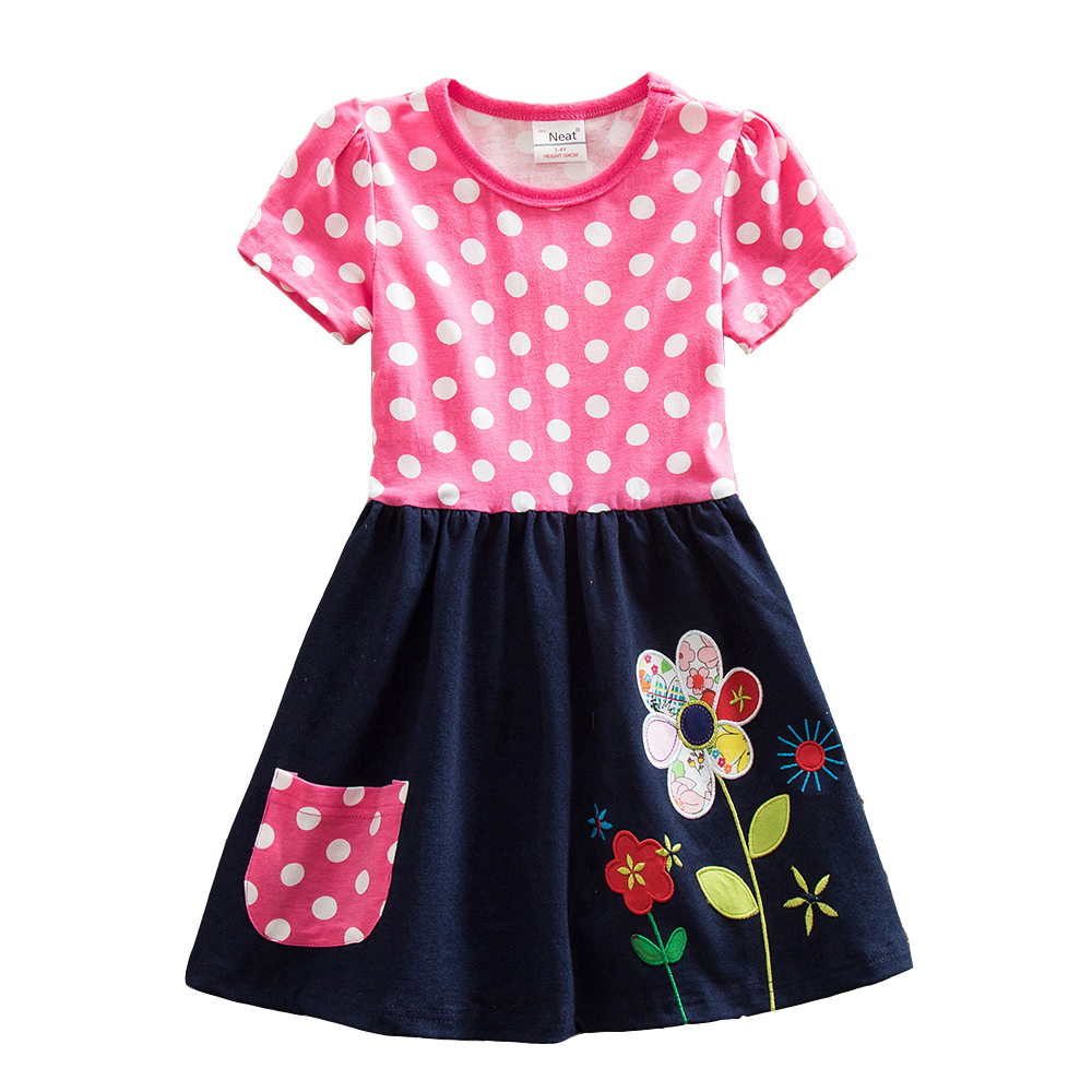 Retail Summer Girls Dress Baby Print Cute Lace Tutu Dresses Vestidos 2017 Children Clothing Kids Wear New Dresses H5748 Mix