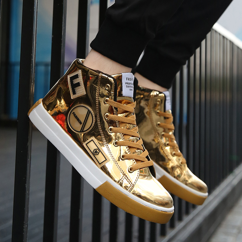 Rommedal High-top Male Vulcanized Shoes PU Leather Golden Hip Hop Men Shoes Lace-up Flat Luxury Designer Nightclub Leisure Shoes