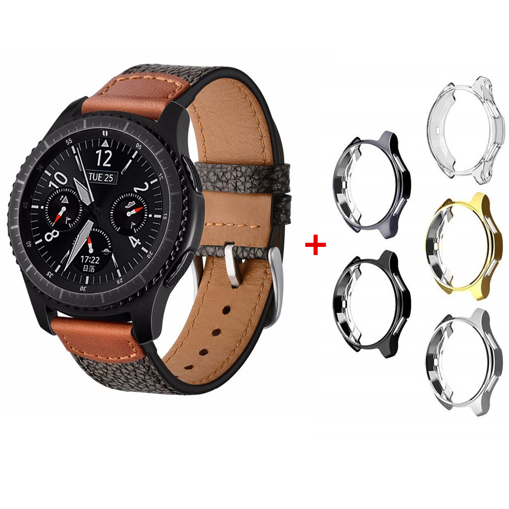 case+leather for samsung gear S3 strap frontier/classic 22mm band replacement 46mm compatible SM-R760 watch accessories silicone sport watchband for gear s3 classic frontier 22mm strap for samsung galaxy watch 46mm band replacement strap bracelet