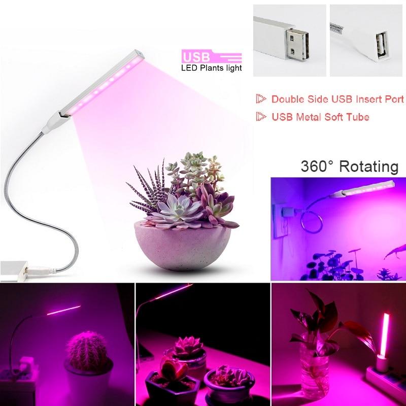 DC 5V USB LED Plant Grow Light 3W 5W Full Spectrum Red Blue 360 Degree Flexible Hose Phyto Lamp Flower Vegs Plants Growth Lamp
