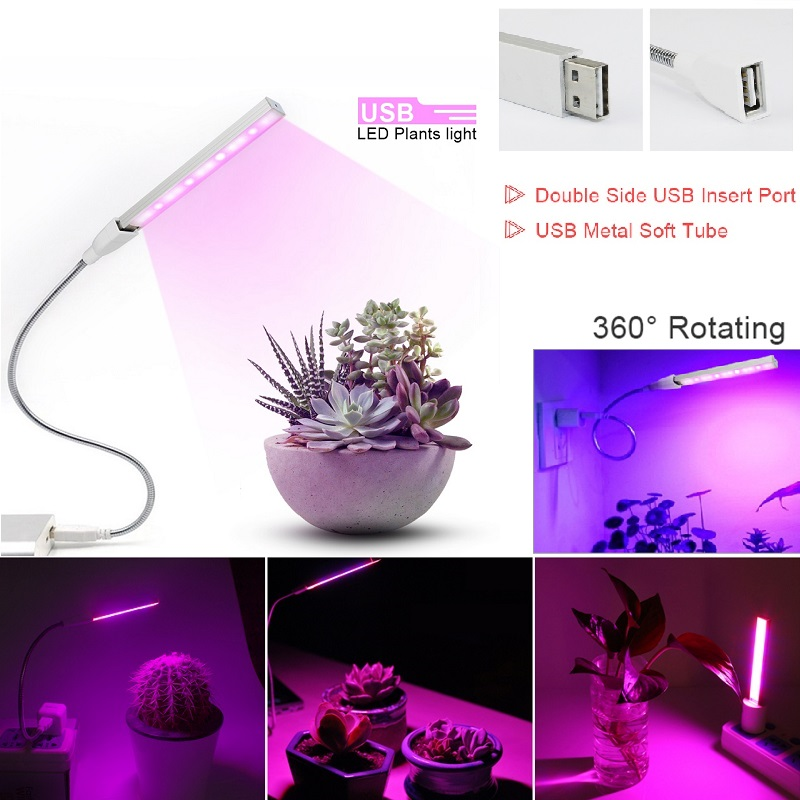 DC 5V USB LED Plant Grow Light 3W 5W Full Spectrum Red Blue 360 Degree Flexible Hose Phyto Lamp Flower Vegs Plants Growth Lamp