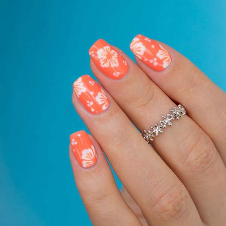 Hawaiian Flower Nails Art Design Orange UV LED Nail Gel