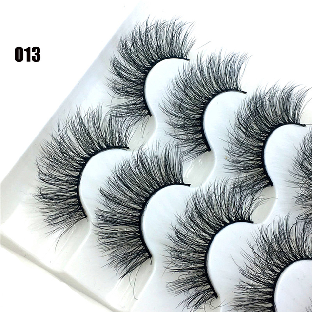 5 Pairs 6D Faux Mink Hair False Eyelashes Natural Long Wispies Lashes Handmade Cruelty-free Criss-cross Eyelashes Makeup Tools 4