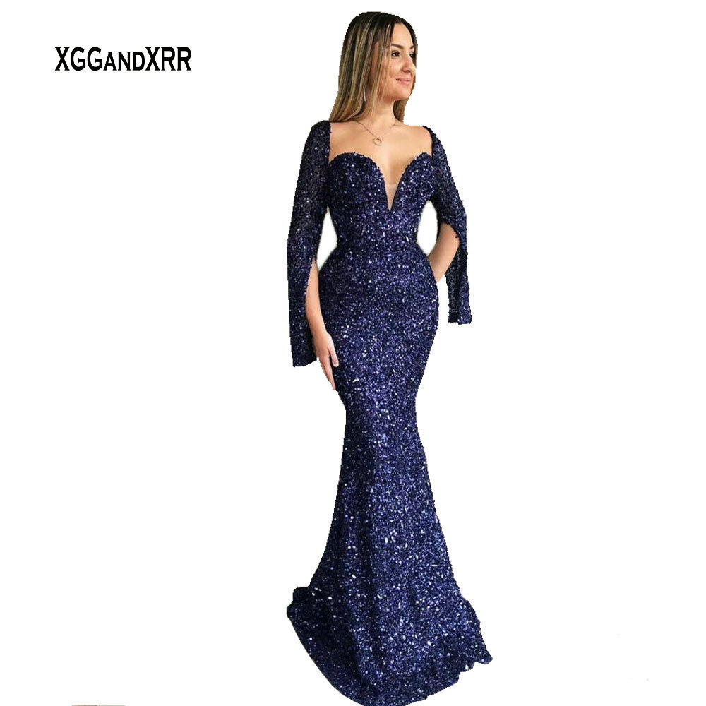 Special Design Long Sleeves With Slit Mermaid   Prom     Dress   2018 Elegant Evening   Dress   Long Party Gown Sequins Lace Blue Formal