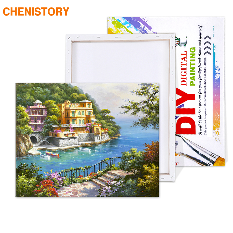 HTB1vSPAXv1G3KVjSZFkq6yK4XXaQ CHENISTORY Pre-Framed Landscape DIY Painting By Numbers Modern Wall Art Picture Acrylic Paint On Canvas For Home Decors Artwork