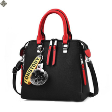 New Women Bags Women Leather Handbag Shoulder Bag Crossbody Handbags Zipper Vintage High Quality Hair Ball Pendant Metal Handle