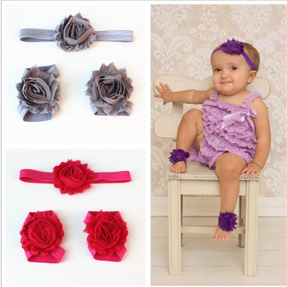Newborn Baby Girl Lace Chiffon Hair Band Barefoot Sandals Foot Flower Headband