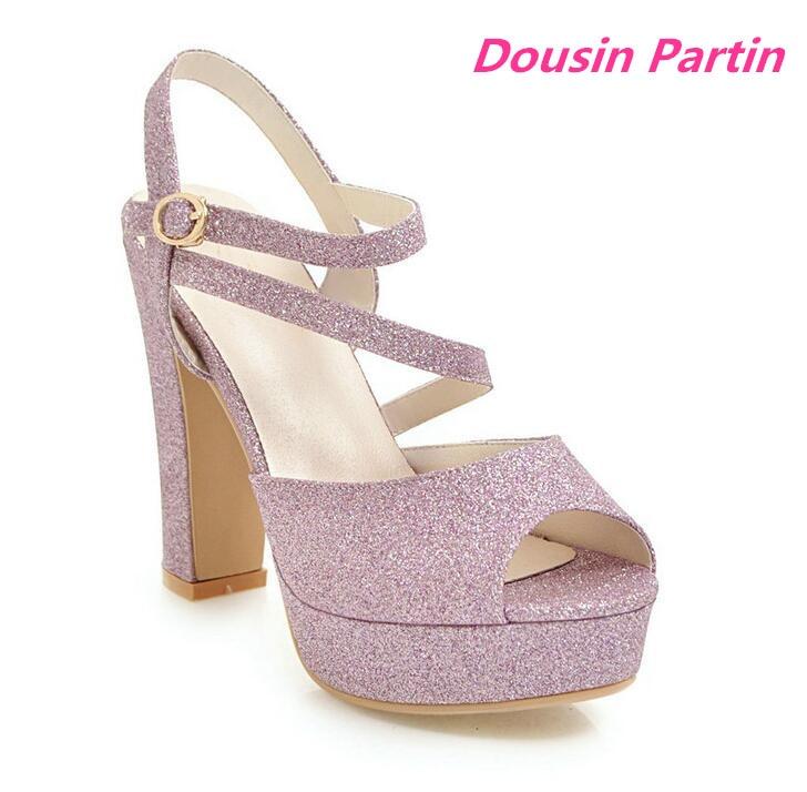 Dousin Partin Sexy Peep Toe Summer Women Pumps Fashion Square High Heel All Match Women Shoes