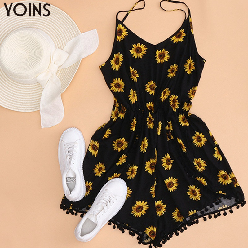 YOINS 2019 Summer BohemianWomens Rompers Playsuit Floral Print Bottoms Sexy V Neck Strapless Backless Casual Overalls Bodysuits