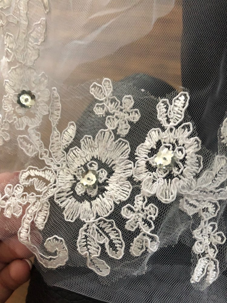 1T White Ivory Lace Appliques Rhinestone Bridal Veil With Comb Wedding Women Elegant Hairbands One Layer Floral Embroidery