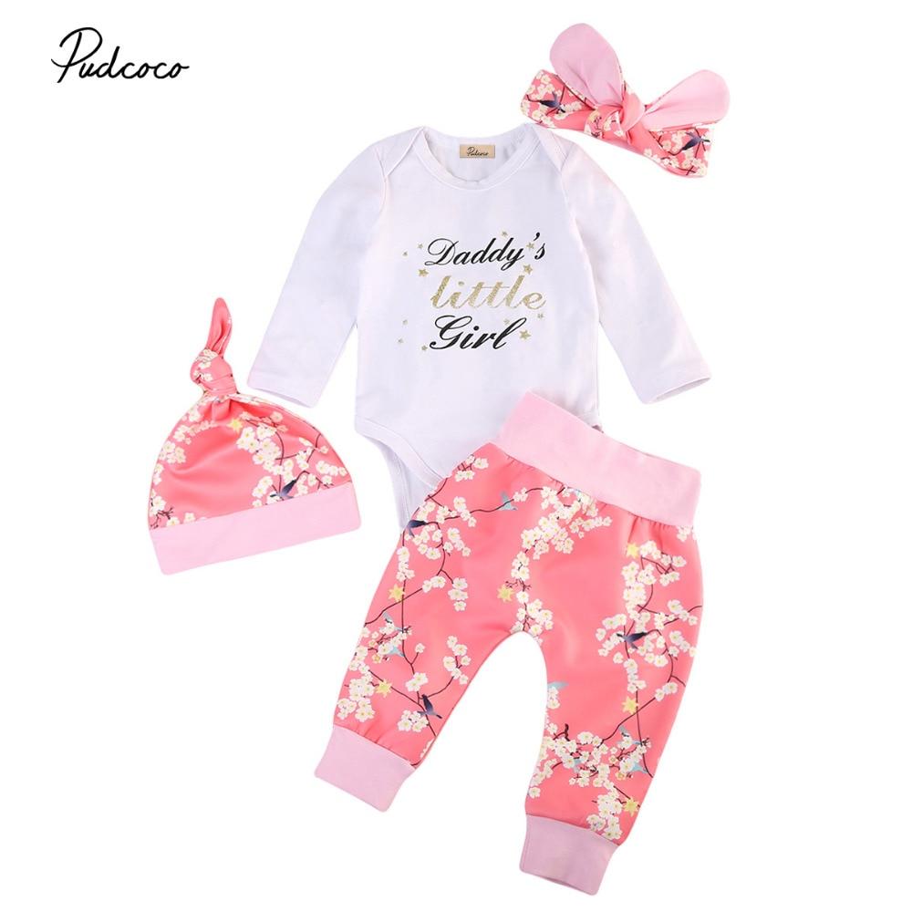 Cute Toddler Infant Baby Girls Winter Clothing Floral Outfits Set Letter Print Romper Cotton Leggings Pants Handband 4pcs
