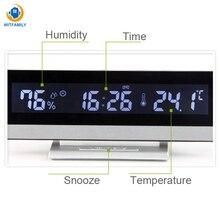 Температура Влажность светодиодный электронный дисплей будильник с ЖКД большой экран стол Цифровой Будильник часы Nixie офис спальня декор