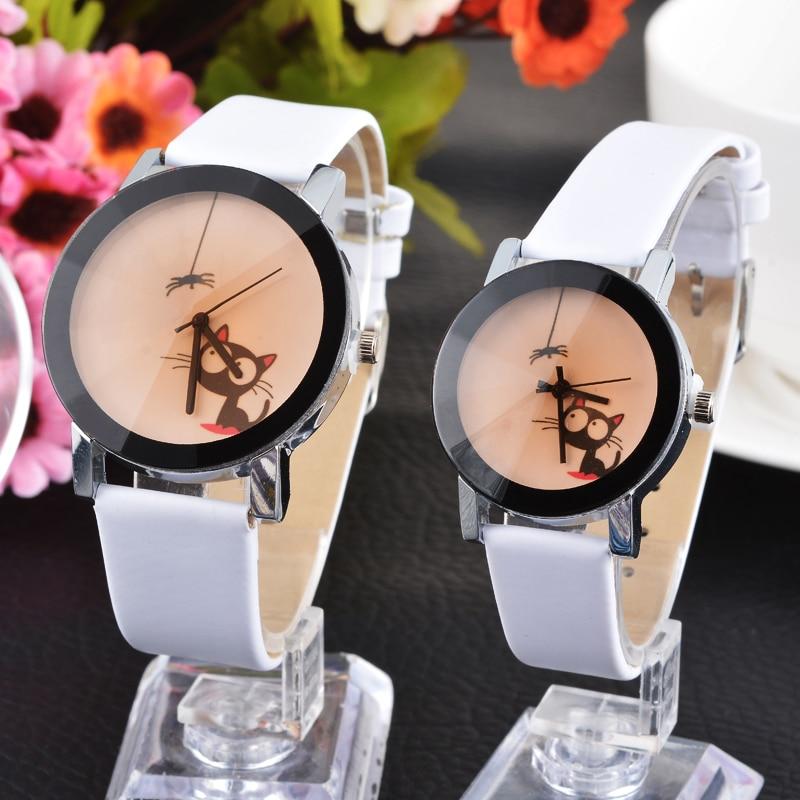 Cute Cat Fashion Casual Lovers Couple Watches Women Men Wristwatches