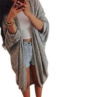Womens Lady Casual Knit Sleeve Sweater Coat Loose Cardigan Jacket Spring Autumn Winter Fashion Jacket Camisola