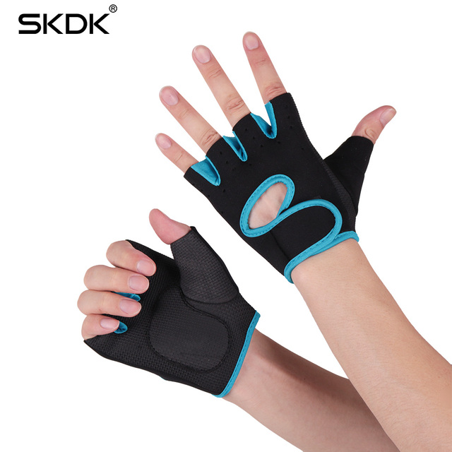 SKDK Gym Fitness Gloves Breathable Body Building Training Wrist Gloves Weight Lifting Silica Gel Anti-Skid Sports Workout Gloves
