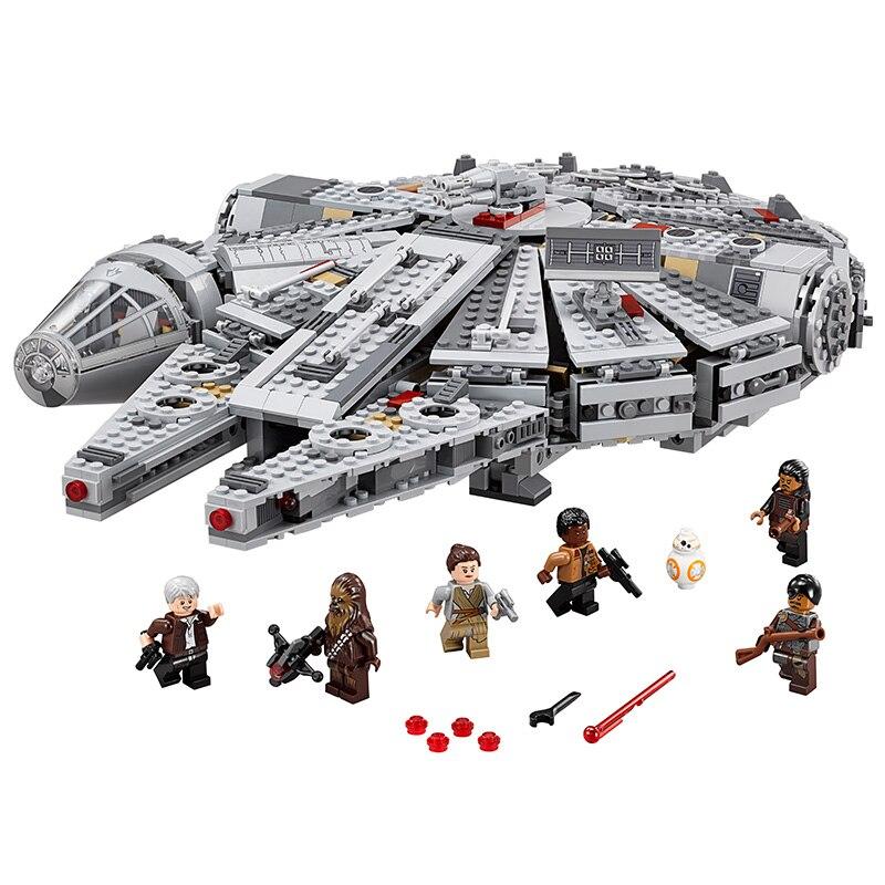 font b lepin b font 05007 1381pcs Millennium Falcon building blocks bricks marvel minifigures Kids