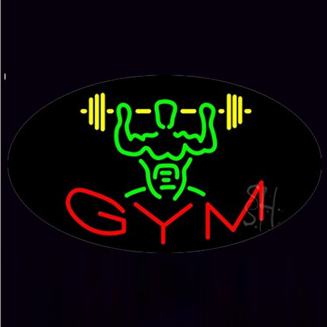 Gym Animated Cle Neon Sign Lamp Fairy Lights Real Block Neon Sign Lamp Neon Sign Beer Bar Pub