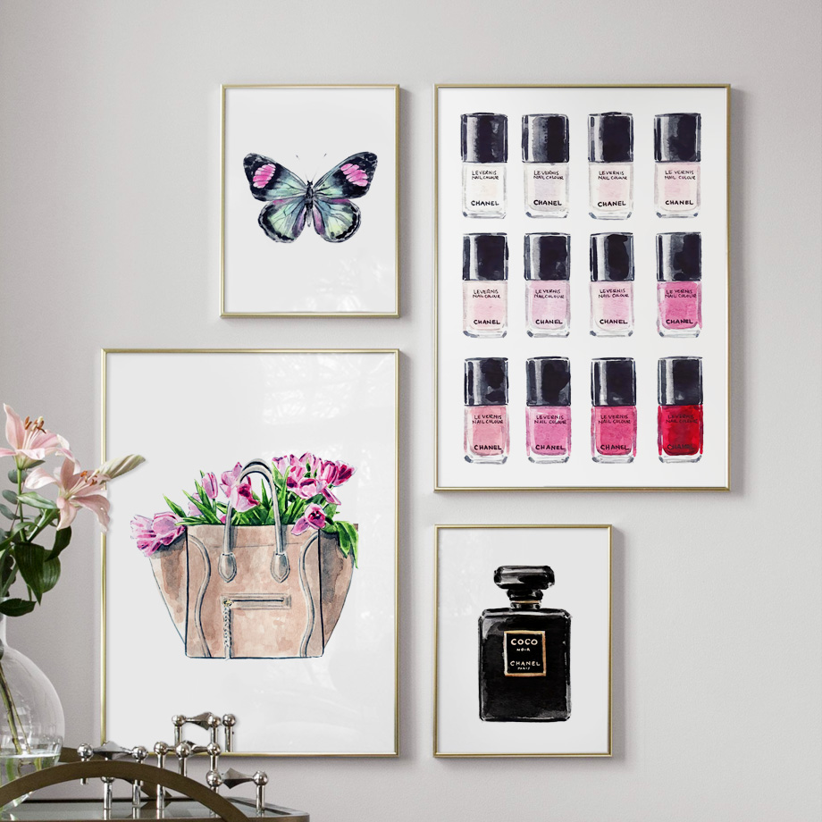 Nail Polish Bag Flower Perfume Butterfly Wall Art Canvas Painting Nordic Posters And Prints Wall Pictures For Living Room Decor