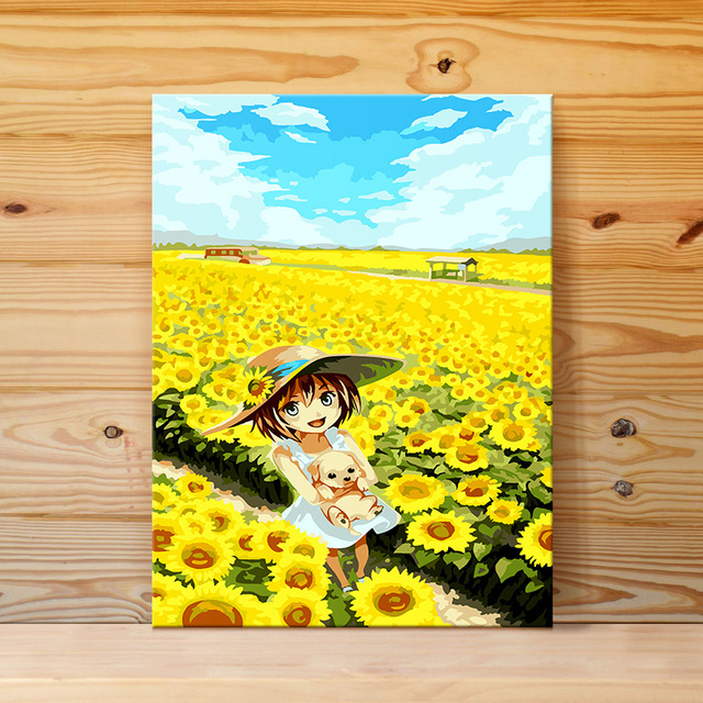 Framed sunflower Landscape DIY Painting By Numbers Home Decoration ...