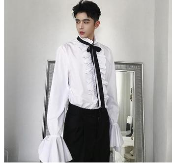 2019 new catwalk models tide men's shirts Europe and the United States retro court lotus leaf side long-sleeved shirt
