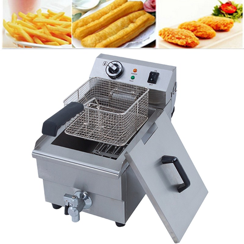 Newest Deep Fryer Commercial Electric Fryer Deep Fat Chip Fryer 10 Litre Single Tank With Accessories salter air fryer home high capacity multifunction no smoke chicken wings fries machine intelligent electric fryer