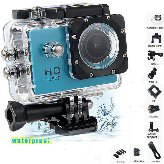 1080P HD في الهواء الطلق كاميرا عمل رياضية صغيرة كاميرا ip مقاومة للمياه كام DV gopro نمط الذهاب برو مع شاشة كامل اللون مقاومة للماء