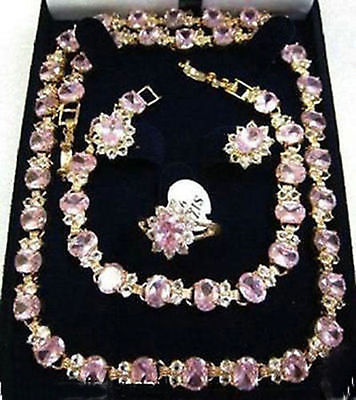 Beautiful pink crystal necklace bracelet earring ring set>AAA GP Plated gold Bridal wide watch wings queen JEWE new beautiful pink crystal necklace bracelet earring ring set aa265