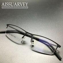 Men eyeglasses frame optical fashion simple prescription square half rim glasses frame black metal new arrival free shipping